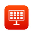 desktop of computer with folders icon digital red vector image vector image