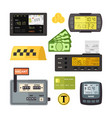 digital and mechanical taximeters set counter vector image vector image