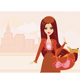 Fashion girl and her puppy in bag vector image vector image