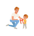 father giving a gift to his son loving dad and vector image vector image