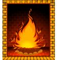 fire burning in fireplace vector image