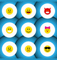 flat icon expression set of grin laugh pouting vector image vector image