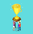 flat isometric concept winning team vector image vector image