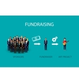 flat of an infographic fundraising concept a group vector image