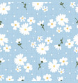 flat style white daisy flower on blue plaid vector image vector image