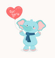 friendly elephant boy with balloon cartoon hand vector image