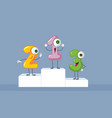 funny cartoon numbers sitting on a podium vector image