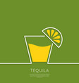 Glass of tequila with lemon vector image vector image