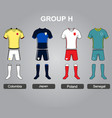 group h team jersey vector image vector image