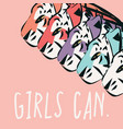 hand drawn tigers with feminist phrase girls can vector image vector image
