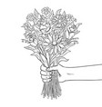 hand with flower coloring book vector image vector image