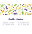 healthy lifestyle banner template with fresh vector image