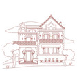 house with red ink vector image vector image