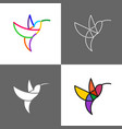 hummingbird colorful line style rainbow logo set vector image