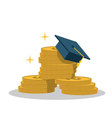 Isolated cartoon gold coin and expensive education vector image vector image