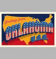 july 4th oklahoma retro travel postcard vector image