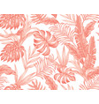 living coral tropical leaves flowers seamless vector image vector image