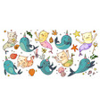 mermaid cats and unicorn narwhals vector image vector image