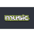 music word text logo design green blue white vector image vector image