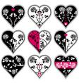 nine lovely heart vector image vector image