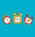 pop art alarm clocks set on half tone background vector image vector image