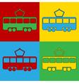 Pop art tram icons vector image