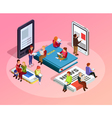 Reading People Isometric Composition vector image vector image