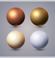 realistic spheres set with reflection gold vector image