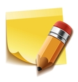 Realistic yellow stick note and pencil vector image vector image