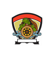 Ridley Turtle At Helm Crest Retro vector image vector image