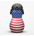Russian matrioshka in military helmets and US flag vector image vector image
