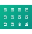 Shop icons on green background vector image vector image