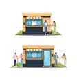 street food shop with customers semi flat rgb vector image