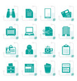 stylized business and office elements icons vector image
