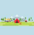 summer camping tent camper barbecue and bonfire vector image vector image