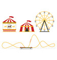 the amusement park elements set in flat style vector image vector image