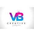 vb v b letter logo with shattered broken blue vector image vector image