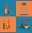 warehouse shipping worker and delivery flat vector image