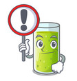 with sign character fresh juice of green cucumber vector image vector image