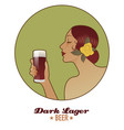 woman holding a glass of beer dark lager vintage vector image vector image