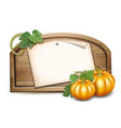 wooden banner with orange pumpkins vector image vector image