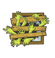 zombie hands window sketch engraving vector image vector image