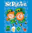 cartoon st patrick day poster vector image