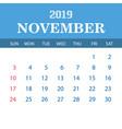 2019 calendar template - november vector image vector image
