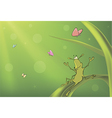 A green bug and butterflies cartoon vector image vector image