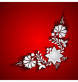Abstract paper floral ornament on red background vector image vector image