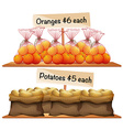 Bags of potatoes and oranges vector image