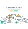 Best Cuisine In the City - line design website vector image
