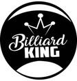 billiard king on white background vector image