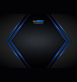blue light arrow black with hexagon mesh vector image vector image